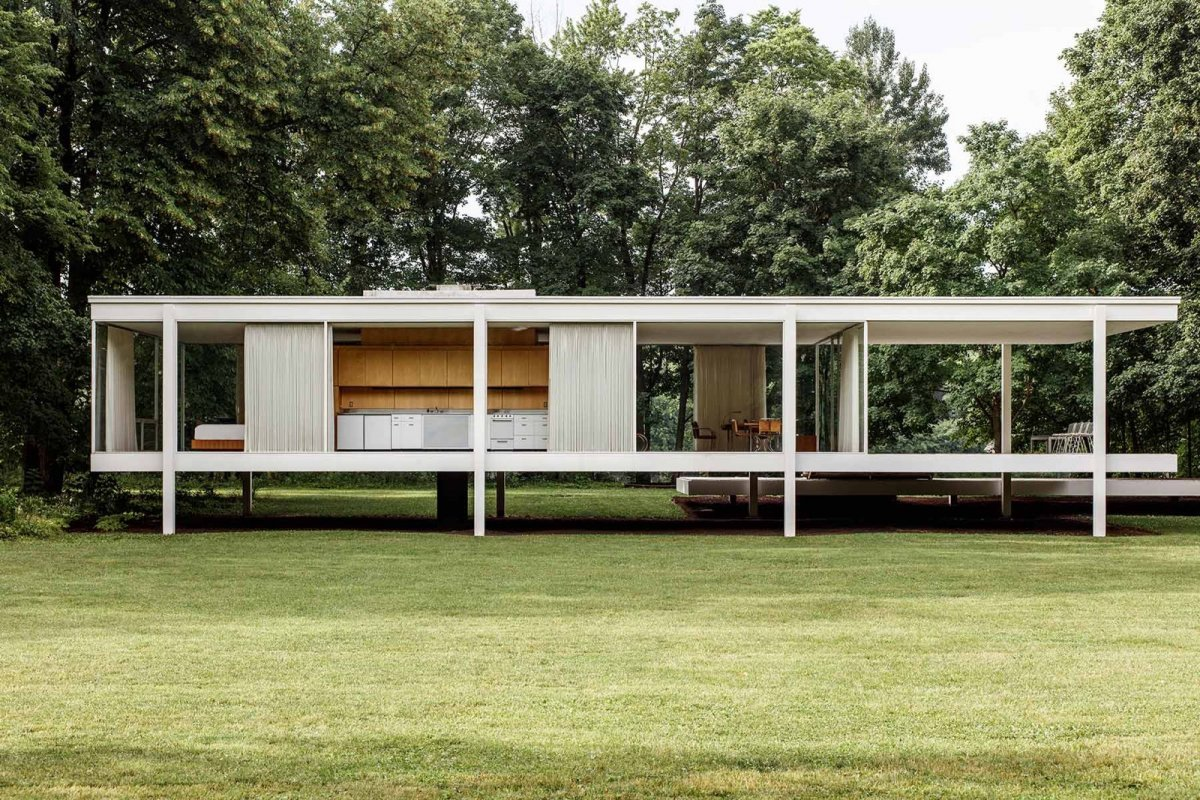 farnsworth house by ludwig mies van der rohe up interiors. Black Bedroom Furniture Sets. Home Design Ideas